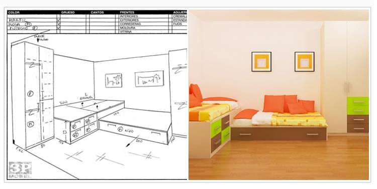 Juveniles a medida perfect cama escritorio y estanteras for Medidas cama juvenil